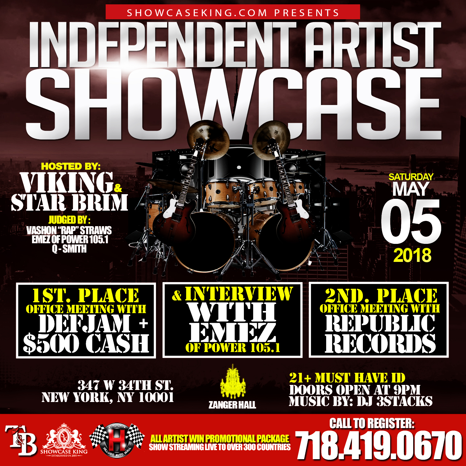 showcase king inc in association with tb management presents the independent artist showcase going down saturday may 05 2018 at zanger hall 347 w