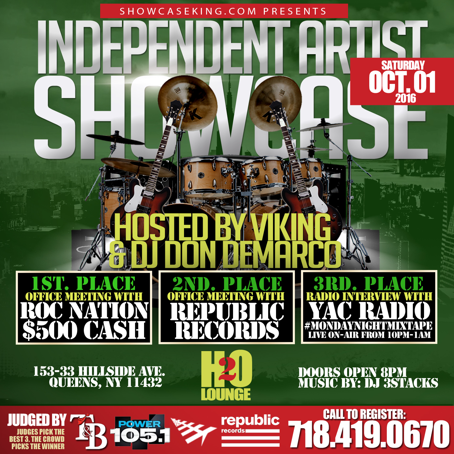 showcase king inc in association with tb management presents the independent artist showcase going down saturday oct 01 2016 at h2o lounge 153 33
