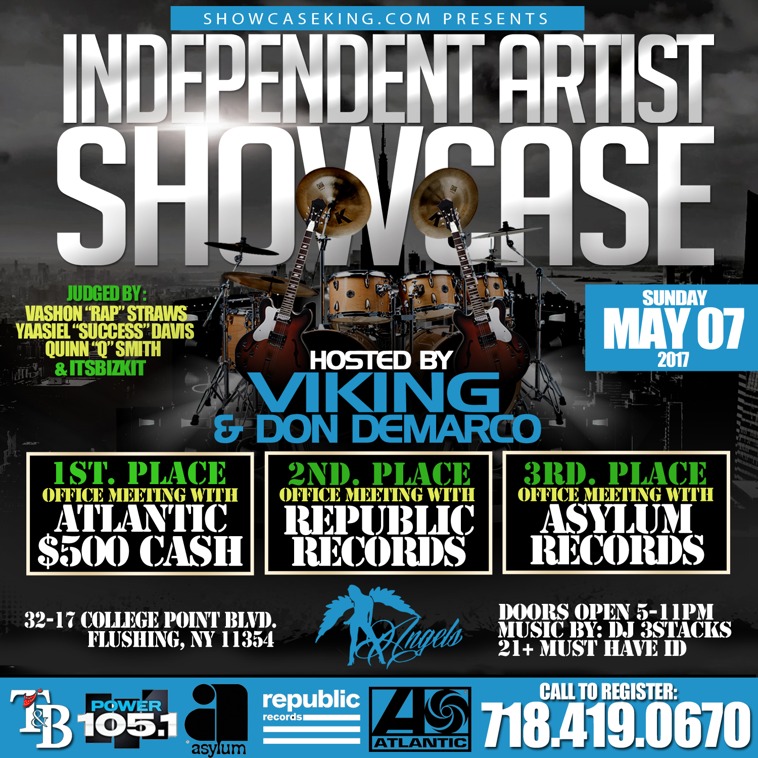 showcase king inc in association with tb management presents the independent artist showcase going down may 07 2017 at angles 32 17 college point blvd